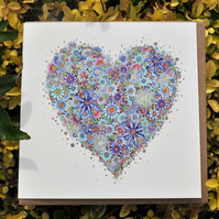Beautiful Blue Floral Heart greeting card