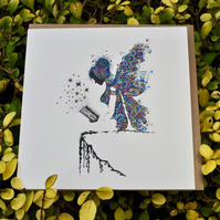 Blue Reading Fairy greeting card