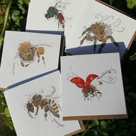 5 x different insect greeting cards