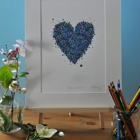 Forget me not  Floral Heart print 12 x 15""