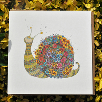 Floral Snail as a Greeting card