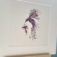 "Swirly Hummingbird 10 x 10"" print"