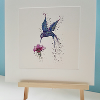 "10 x 10"" mounted purple Hummingbird print"