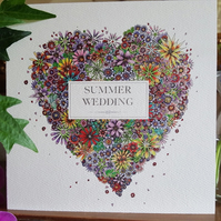 Summer Wedding Floral Heart Card