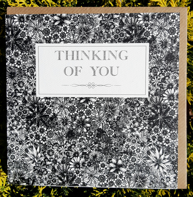 Thinking of you Black floral sympathy card