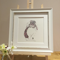 Small Framed Pink Bunny Illustration