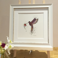 Small Framed Pink Hummingbird offer