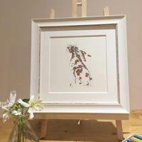 Small Framed floral hare