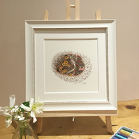 Small Framed Hedgehog illustration
