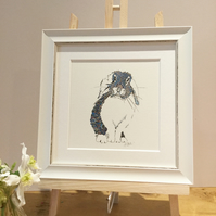 Small Framed Blue Bunny Illustration
