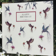 Happy Birthday Hummingbirds (pink and purple)