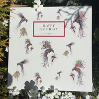 Happy Birthday Hummingbirds (Swirly and Iridescent)