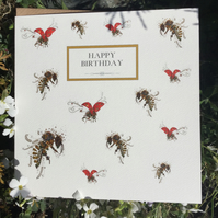 Happy Birthday Bees and Ladybirds card