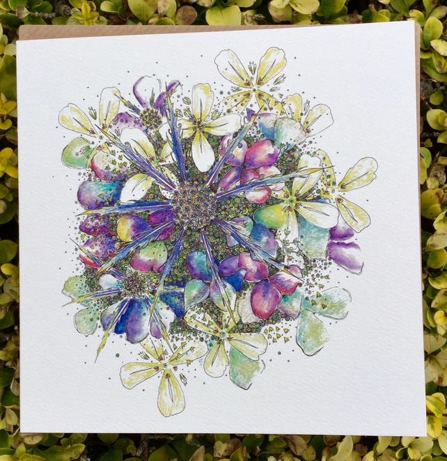 Coastal Britain Hydrangea & Sea Thistle Blank Card