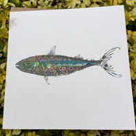 Coastal Britain Large Mackerel Blank Card