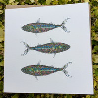 Coastal Britain Three Mackerel Blank Card