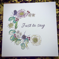 Coastal Britain Floral garland 'Just to say' card
