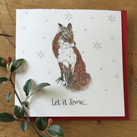 'Let it snow' Fox Christmas card
