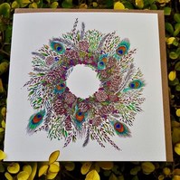 Peacock wreath individual  card