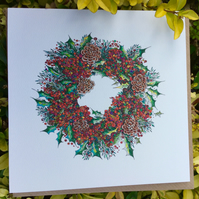 Holly Berry Wreath individual card