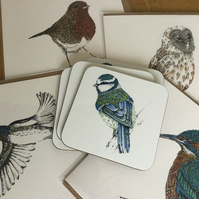 4 x British bird cards and 4 x Bkue tit coaster offer