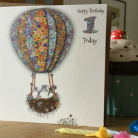 'Up in my Balloon' Age 1 Birthday Card Unisex (Bunnies)