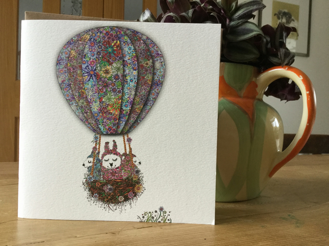 'Up in my Balloon' Greeting card (Alpacas)