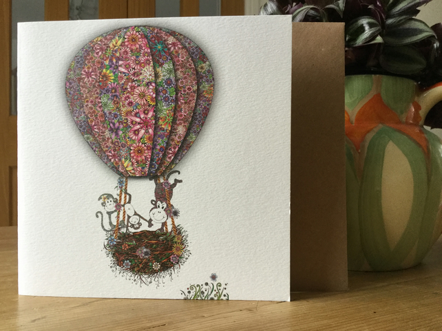 'Up in my Balloon' Greeting card (Acrobat Monkeys)