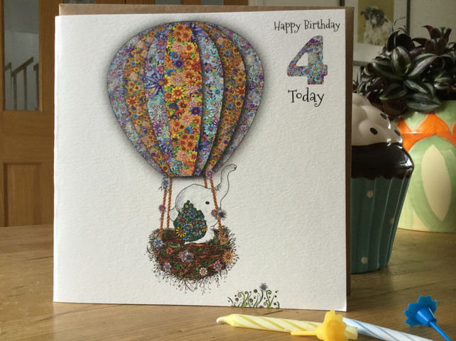 'Up in my balloon' age 4 Birthday card (Baby Elephant)