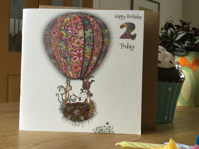 'Up in my Balloon' Age 2 Birthday Card (Acrobat Monkeys)