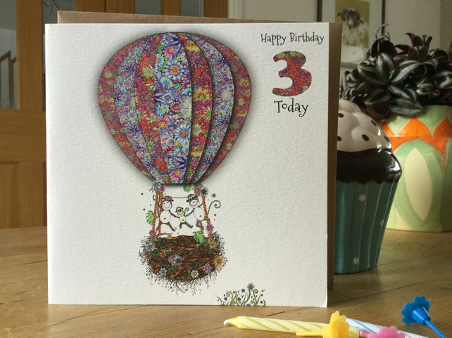 'Up in my Balloon' Age 3 Birthday Card (Baby Monkey)