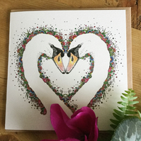 'One Love' Swan heart card
