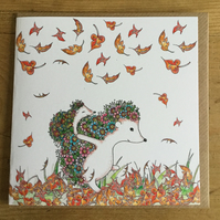 Hedgehogs and Autumn leaves