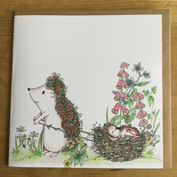 Hedgehog and Baby in Nest Greeting Card