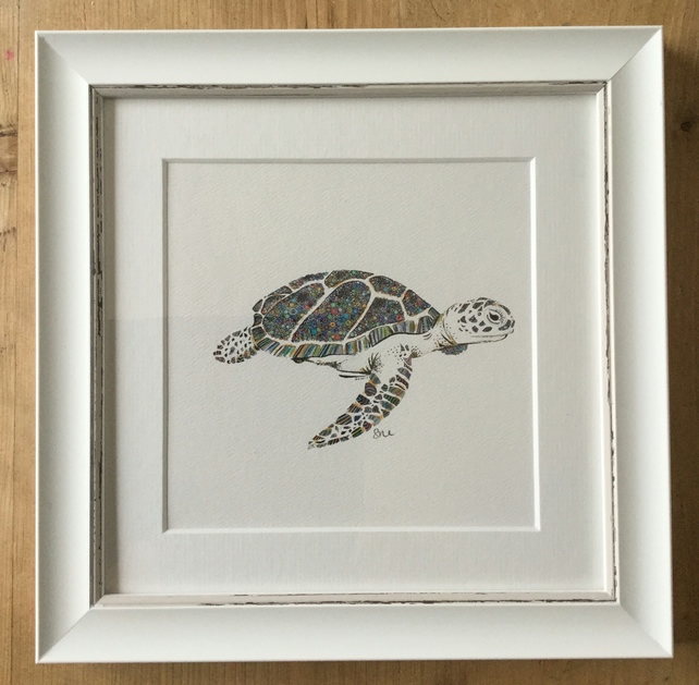 "Tropical turtle framed 9.5 x 9.5"" print"