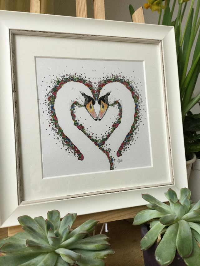 "Swan heart in a 9.5 x 9.5"" frame"