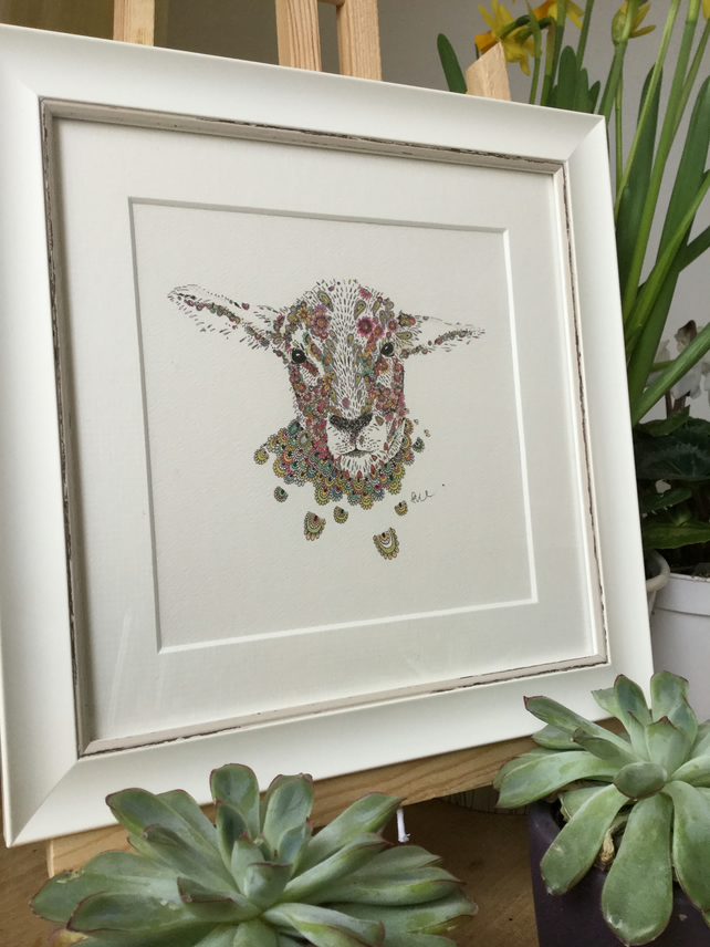Floral sheep framed print 9.5 x 9.5""