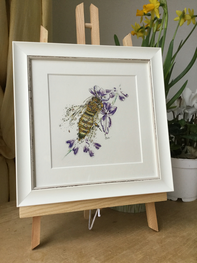 "Honey Bee and Lavender 9.5 x 9.5"" framed print"