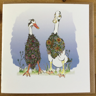 Male and female Runner Duck Wedding or Anniversary etc Card