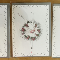 "Trio of Ballerina Greeting cards 5x 7"" silver envelope"