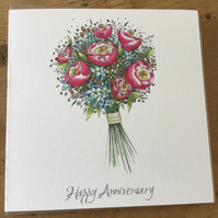 Happy Anniversary vase of peonies and hydrangea
