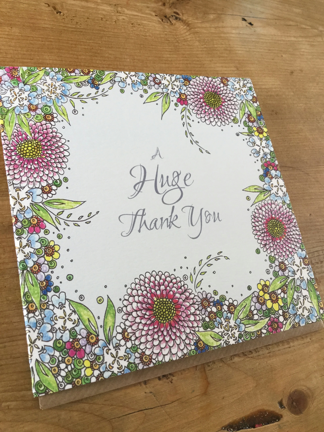 A huge thank you! Floral greeting card