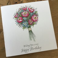 Happy Birthday Peony and Hydrangea Greeting Card