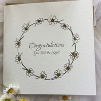 'You tied the knot' daisies wedding card