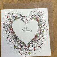 'On your Anniversary'  floral heart Greeting card