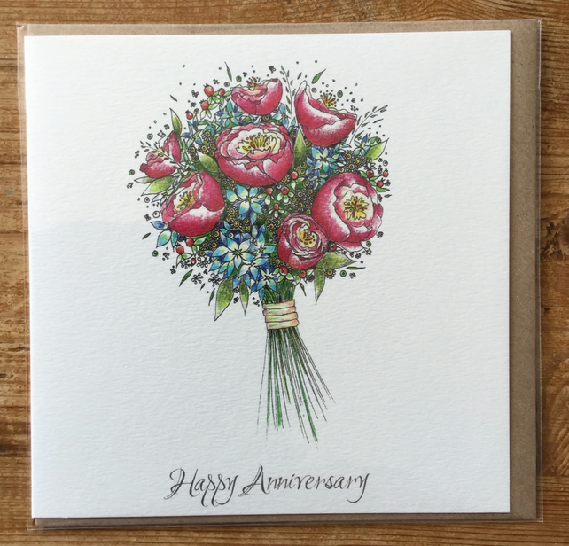 Floral bouquet Happy Anniversary Greeting card