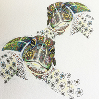 Sea Turtles a4 size mounted, signed print pre order