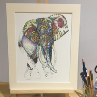 Sumatran Elephant a4 mounted, signed print
