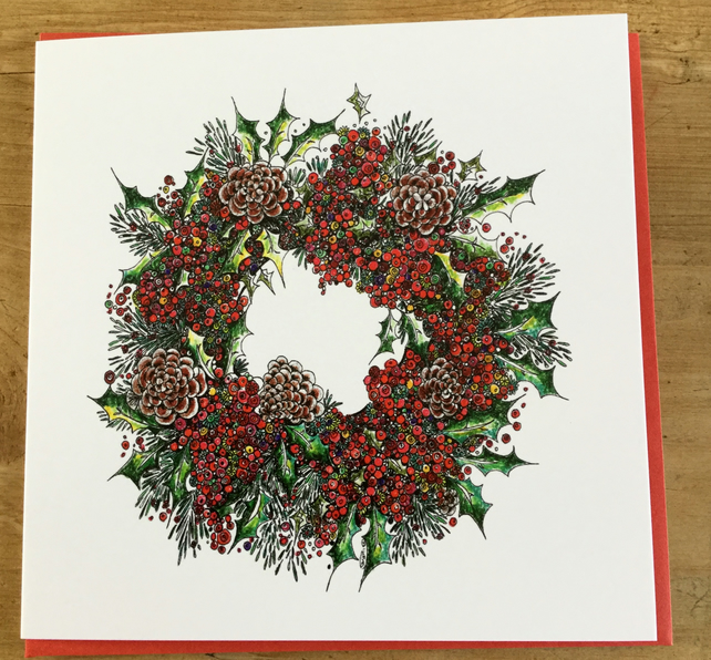 Christmas Card Design.6 Christmas Card Pack 2 Designs Tree And Wreath
