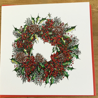 PACK 6 Christmas card pack (2 designs Tree and wreath)